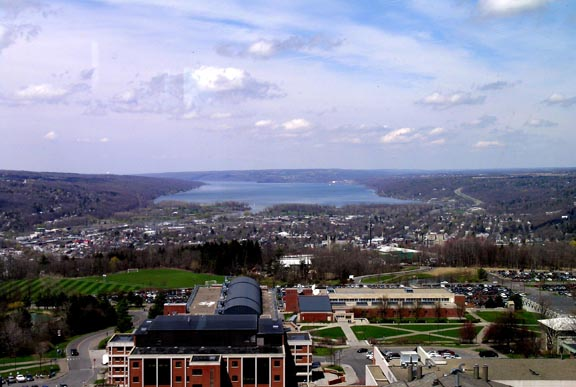 View of Ithaca and Cayuga Lake from the Towers Restaurant