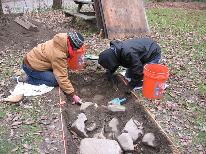 Cornell archeology students dig in upper Robert H. Treman State Park, near Ithaca, NY