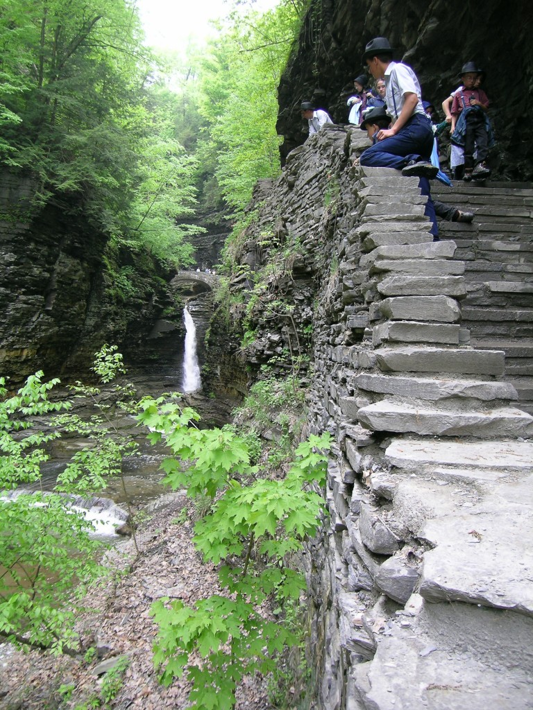 Stone staircase climbs to Central Cascade in Watkins Glen State Park in New York's Finger Lakes region.