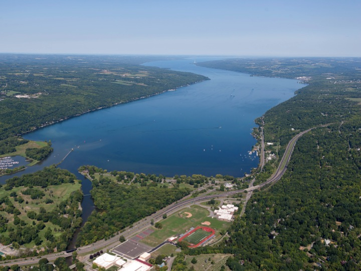 South end of Cayuga Lake, Ithaca NY, Finger Lakes, aerial
