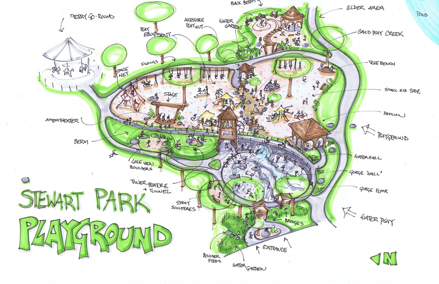 Sketch of the future playground at Stewart Park in Ithaca, NY, along the shore of Cayuga Lake.