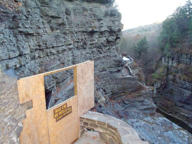 Gorge Trail in upper Robert H. Treman State Park is partially closed for the season.