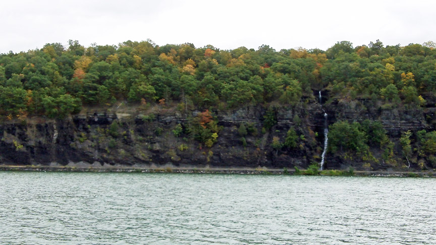 Waterfall on cliffs Cayuga Lake near Ithaca, NY, Finger Lakes