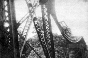 1935 flood damage to railroad bridge in Watkins Glen State Park