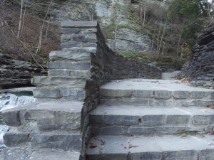 Stone masonry steps along the Gorge Trail, Lucifer Falls, Robert H. Treman State Park, Ithaca, NY