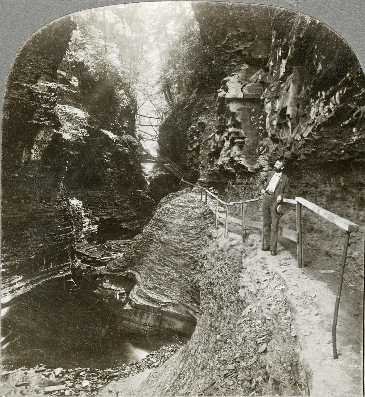 Man at Frowning Cliff. Watkins Glen, historic