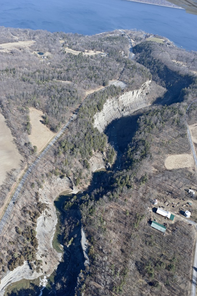 Taughannock Falls State Park from air, Trumansburg, Ithaca, NY, Finger Lakes, Tompkins County