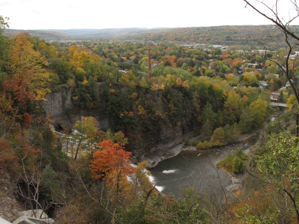 View over Ithaca Falls and the city of Ithaca