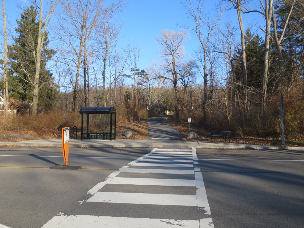 TCAT bust stop on Pine Tree Road and the East Hill Recreation Way