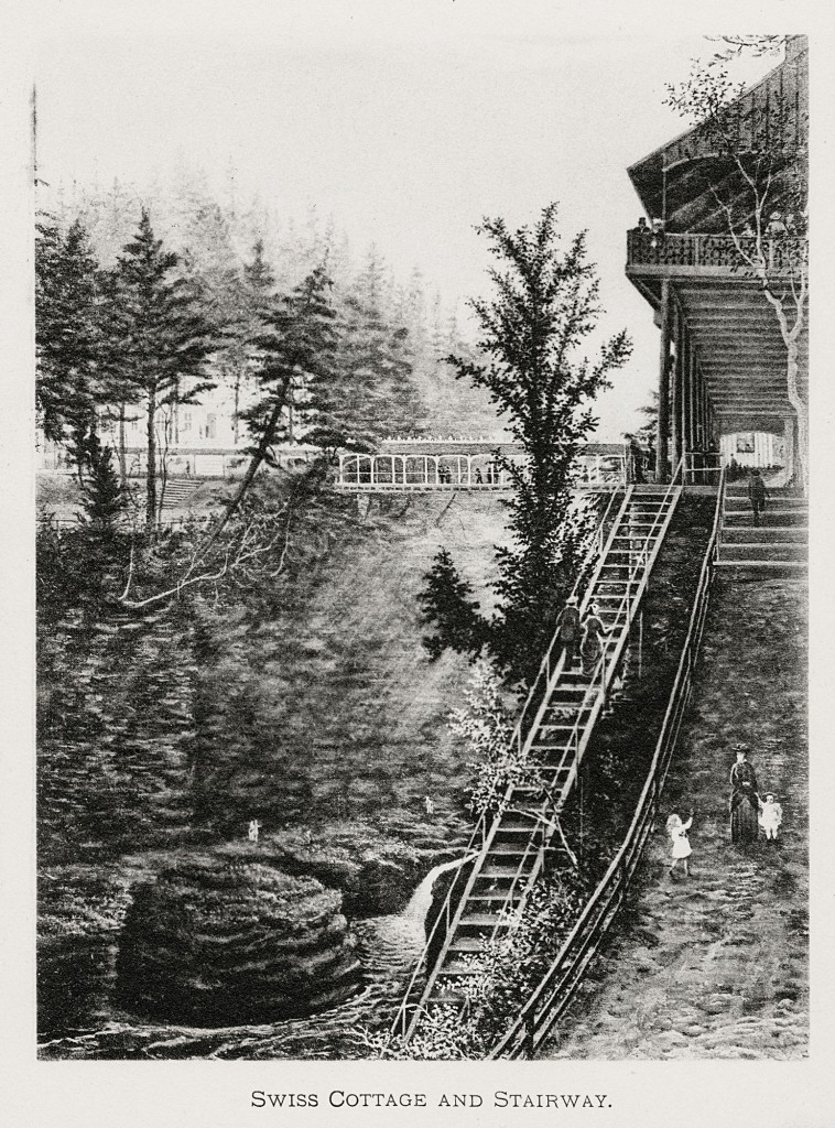 Historic photo of Watkins Glen State Park showing the Suspension Bridge and the Swiss Chalet