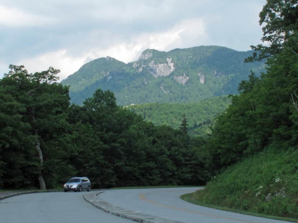 The Blue Ridge Parkway approaches Grandfather Mountain in North Carolina.