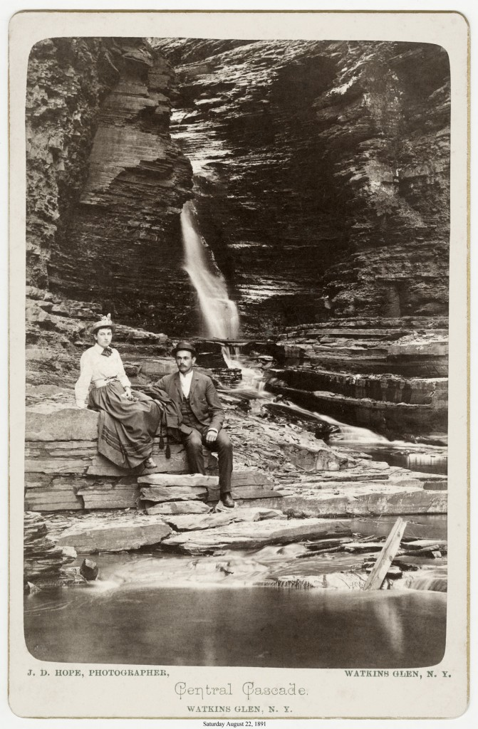 Historic photo of tourists at what is now Watkins Glen State Park