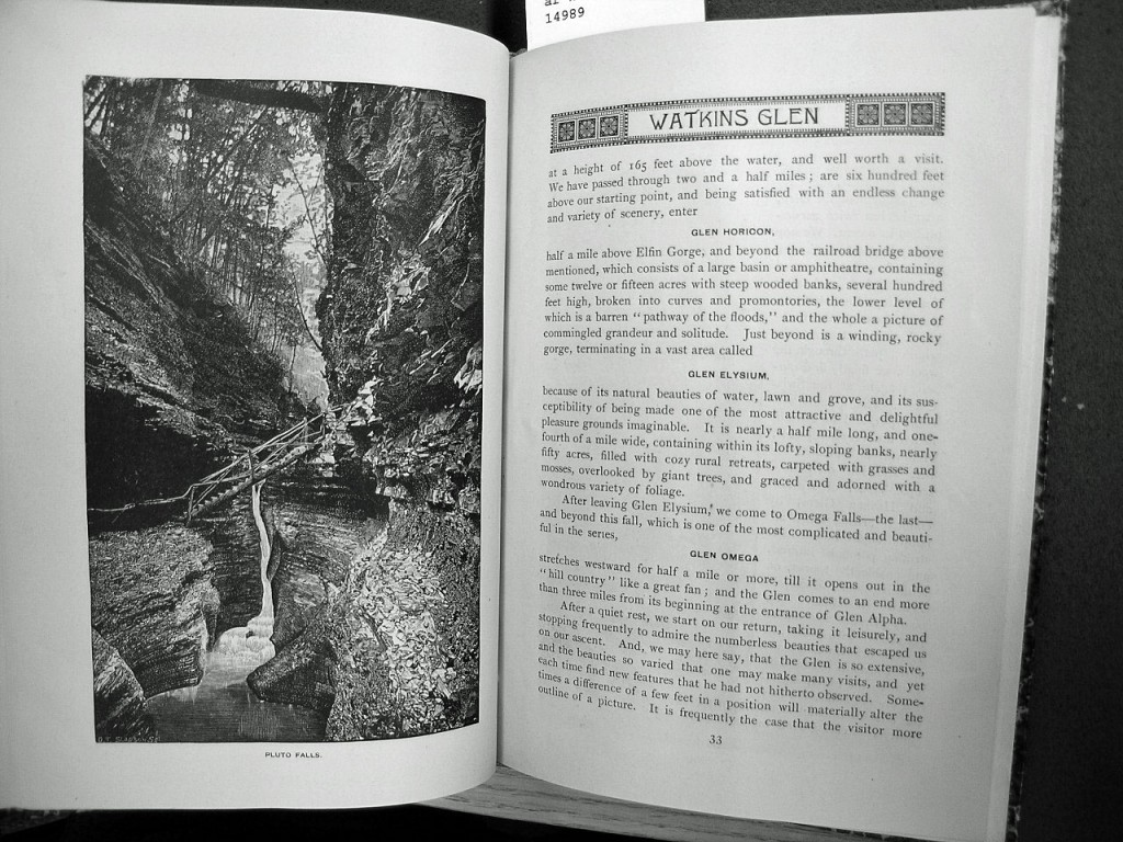 Old guide book of Watkins Glen State Park showing Pluto Falls