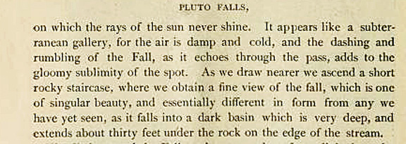 Description of Pluto Falls in Watkins Glen from the 1870s