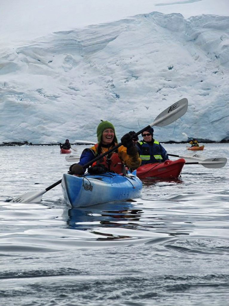 Louise Adie kayaking in Antarctica
