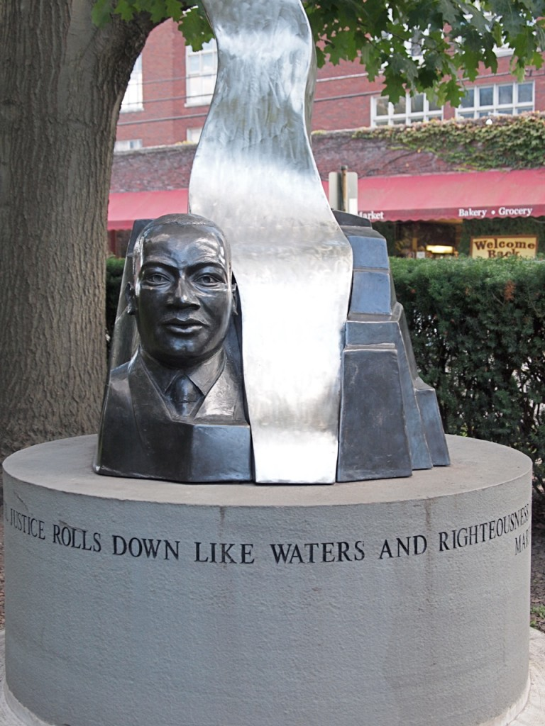 The Rob Licht sculpture of Martin Luther King Jr. current resides in DeWitt Park, in Ithaca, NY. It will be returned to the west end of the Ithaca Commons when the Commons reconstruction is complete, where the sculpture will serve as the focal point for Ithaca's MLK Freedom Walkway. Photo by Elizabeth Bauman